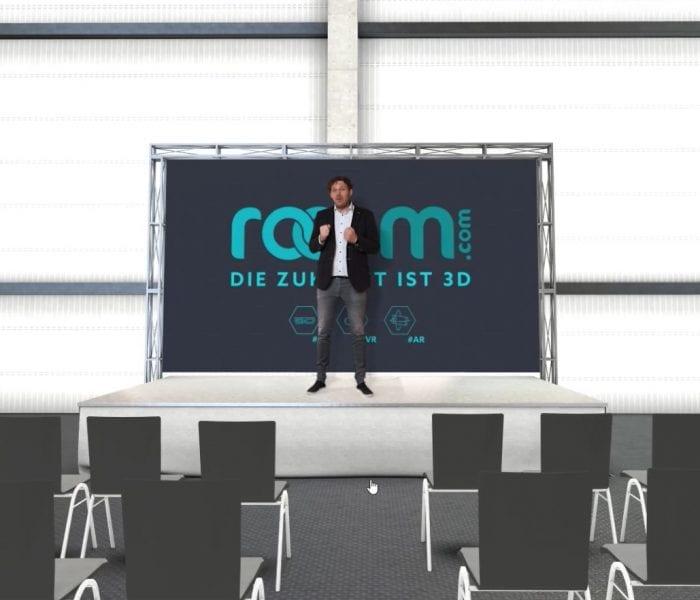 Vortrag auf einer virtuellen Messebühne