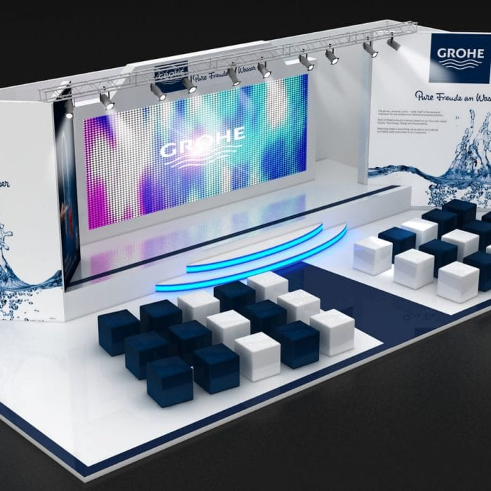 3D Messestand GROHE mit Leinwand